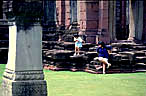 BB playing at the temple in Phimai