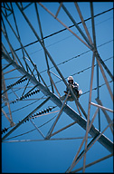Worker on electric tower